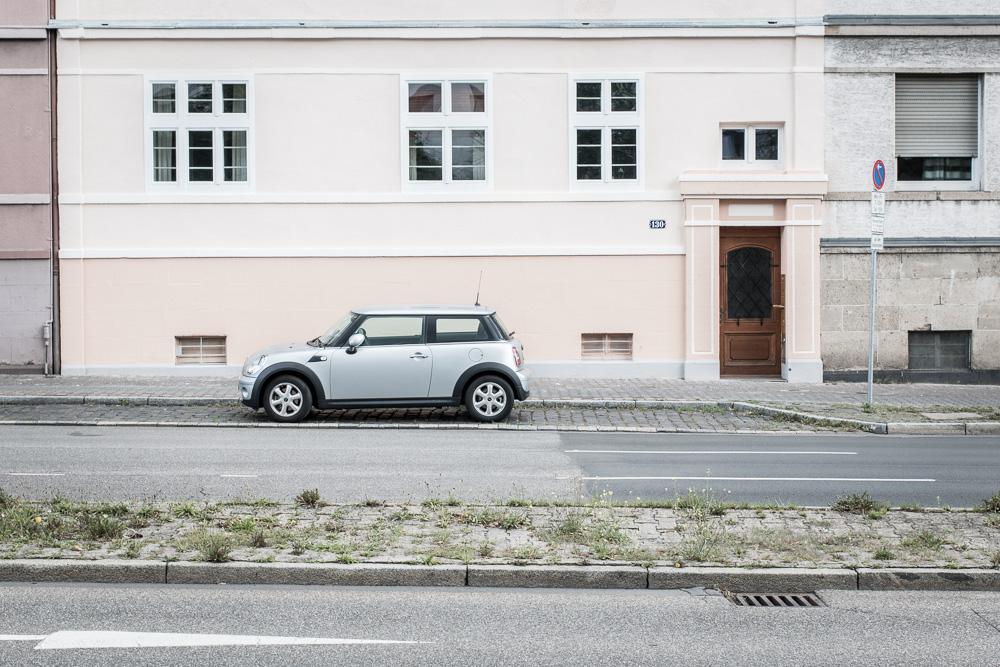 Mini Cooper standing on a street in Frankfurt.