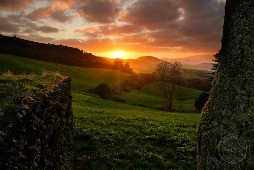 Blick Richtung Westen über die Azoren im Sonnenuntergang