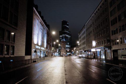 frankfurt city at night after the rain