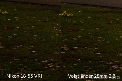 Voigtländer 28mm 2.8 and Nikon 18-55 VRII saturation comparison
