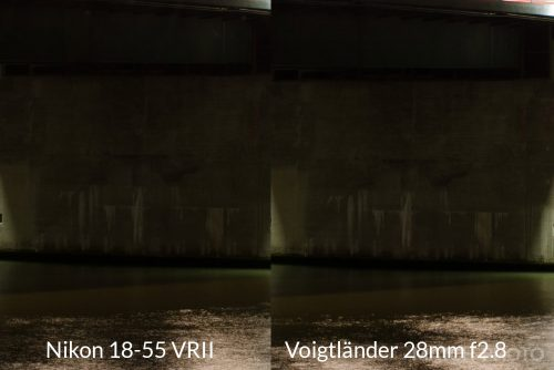 Voigtländer 28mm and Nikon 18-55 VR II shadow detail comparison